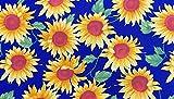 Stoff aus 100 % Baumwolle, Popeline, Sonnenblumen-Druck auf