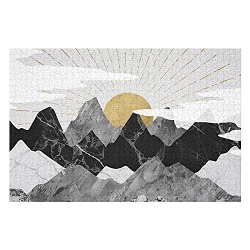 Houten puzzel 1000 PCS voor volwassenen en kinderen, gouden zonsopgang over zwart-wit bergen moeilijke uitdaging…