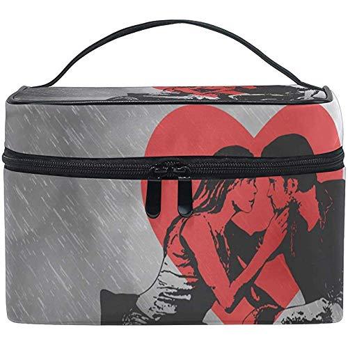Schminktas Romance Love Draagbare grote cosmetische toilettas Train Case Organizer Box tas voor meisjes vrouwen