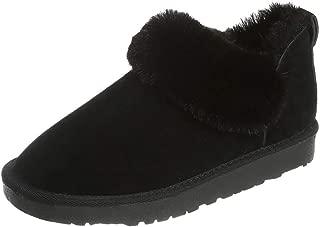 HebeTop Women's Sheepskin Slip On House Slippers Indoor Outdoor Winter Shoes