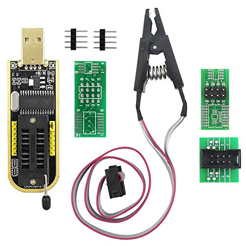 KeeYees SOP8 SOIC8 Test Clip and CH341A USB Programmer Flash for Most of 24 25 Series EEPROM BIOS Chip with PDF Tutorial