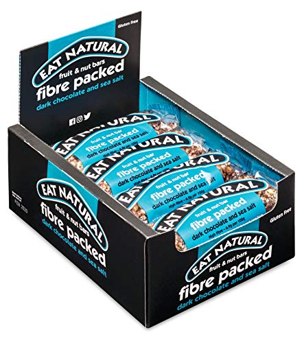 Eat Natural Fibre Packed Dark Chocolate & Sea Salt with Peanuts & Fruit 12 x 45g