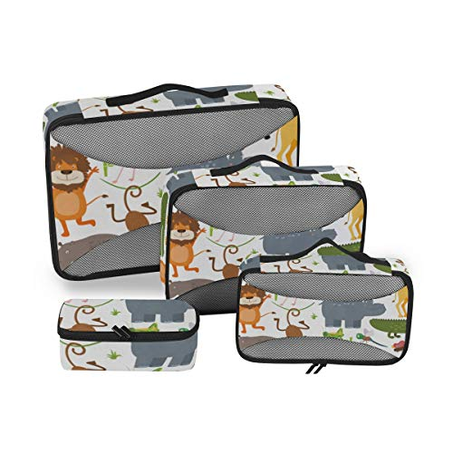 Patterns 4pcs Toiletry Bag for Men and Women Travel Organizer for Makeup and Toiletries Case for Cosmetics and Toilet Accessories