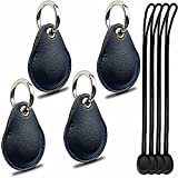 AirTag Leather Case with Keychain, Waterproof Full Protective Cover Anti-Scratch for Apple GPS Tracker, Itag Necklace of Key Finder, Apple Air Tags Accessories Holder - 4 Pack