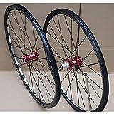 LHHL 700C Bicycle Wheelset for Road Bike Double Wall Rim 30mm Disc/V Brake Aluminum Alloy Card Hub 10 Speed Sealed Bearing QR (Color : Red hub)