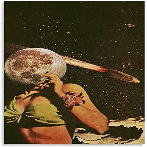 DCPPCPD Mural con Estampado De Arte 60 * 90cm Sin Marco Carti I Wanna Go to Pluto Retro Collage Impresión de Imagen Moderna decoración de Dormitorio Familiar Posters