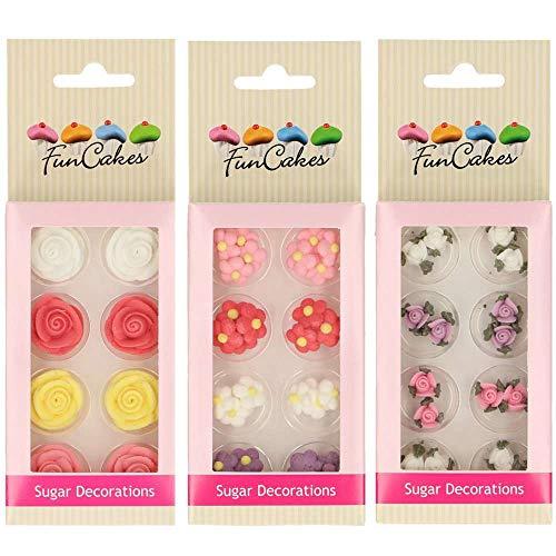 Fun Cakes - Pack de Decoraciones de Azúcar/fondant para cupcakes, muffins, tartas, galletas. (Pack Flores)