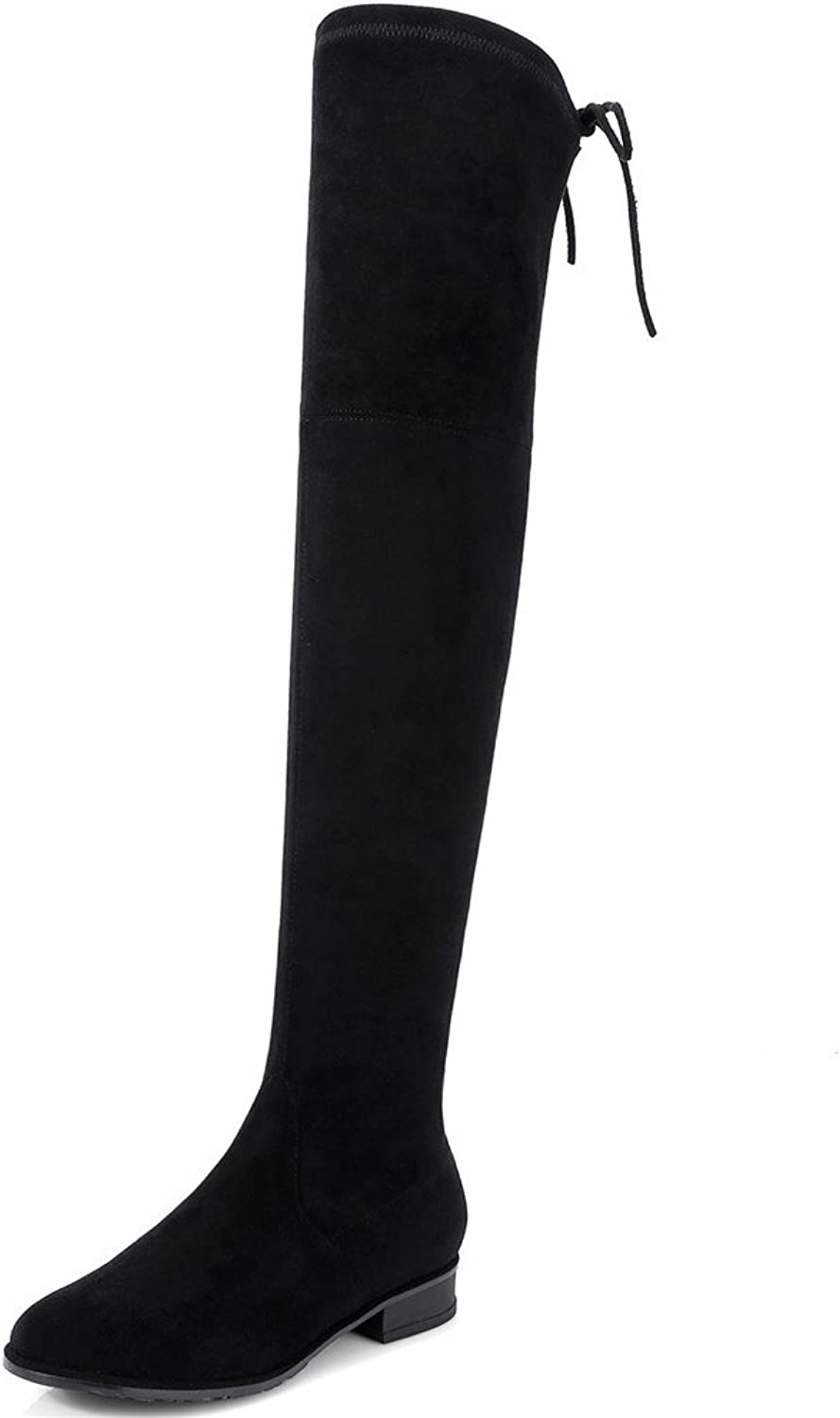 Nine Seven Suede Leather Women's Round Toe Flat Comfort Handmade Trendy Dressy Over The Knee Boots