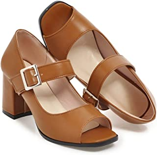 Women Chunky Thick High Heels Sandals Buckle Strap Comfort Slip On Ladies Peep Toe Dress Pumps Shoes