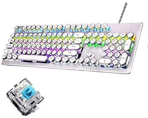 Mechanical Blue Switch Gaming Keyboard,RGB Backlight Retro Plating Punk Keycaps Multimedia Ergonomic USB Wired Game Keyboard for PC Laptop/Computer (Color : White)