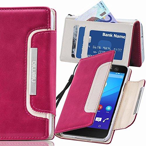 numia Sony Xperia E3 Hülle, Handyhülle Handy Schutzhülle [Book-Style Handytasche mit Standfunktion & Kartenfach] Pu Leder Tasche für Sony Xperia E3 Hülle Cover [Pink-Weiss]