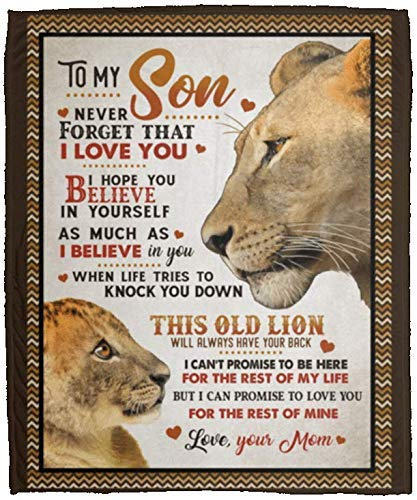 AEMAPE Manta Regalos para mi Hijo Nunca Olvides Que te Amo Espero Que creas en ti Mismo Manta de Lana de león Viejo Manta de Sherpa