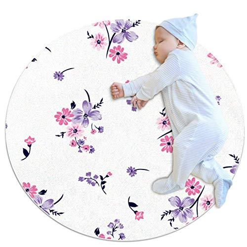 ghbdfg Teppich mit Blumenstrauß, besonders weich, Baumwolle, rund, für Kleinkinder, Spielmatte, Durchmesser 70 x 70 cm, mehrfarbig03, 100x100cm/39.4x39.4IN