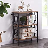 Homissue Industrial Open Bookcase, 3-Tier Tall Bookshelf Storage Display Rack for Home Office, Rustic Brown