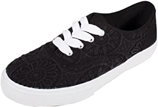 Women's Reader Comfy and Fashionable Round-Toed Embroidered Sneakers in Black Cotton and White Sole