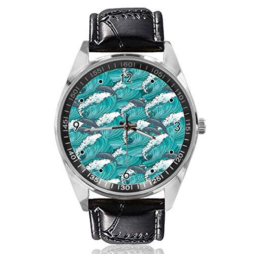 Dolphins Windy Surfing, orologio analogico al quarzo con quadrante argentato classico cinturino in pelle da uomo