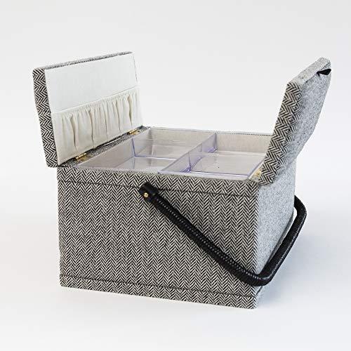 Korbond - Costurero con doble tapa y estampado de espinas de pescado de 17 cm x 24 cm x 32 cm
