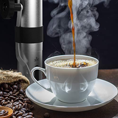 Kitcoff Manual Coffee Grinder Stainless Steel Burr-Hand Grinder Coffee-Hand Crank Coffee Grinder-Manual Coffee Bean Grinder Manual Grinder-Coffee Bean Grinders-Manual Burr Coffee Grinder Manual Burr Grinders For Coffee Beans- Manual coffee grinders