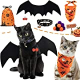 AWOOF Cat Halloween Costume, Funny Pet Clothing Halloween Cat Outfit with Pet Bat Wings Pet Collar, Cute Dog...