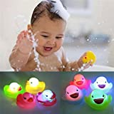 Anniston Kids Toys, 1Pc Newborn Baby Bath Time Toy Changing Color Duck Flashing LED Lamp Light Baby Toys for Baby Children Toddlers Boys & Girls
