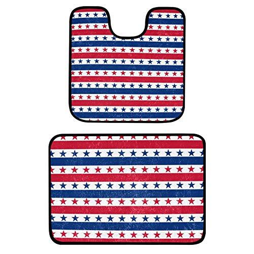 Juego de 2 alfombras de baño y alfombrillas de baño con diseño de estrellas americanas y alfombrillas de baño de felpa suave, alfombras de microfibra Shaggy antideslizantes lavables (61 x 40 cm)