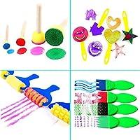 30 Pezzi Pennelli Spugna per Pittura Set per Bambini Strumenti per L'apprendimento Precoce 29 Pennelli per Pennelli PCS + 1 Borsa, Colori Assortiti e Forme (30 Pezzi) #3