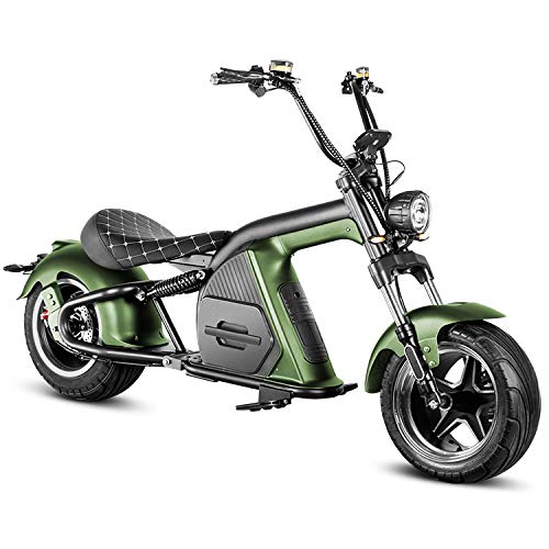 Eahora M8 Electric Scooter 2000W QS Motor Electric Scooter for Adults 60V 30Ah Lithium Removable Battery Harley Electric Motorcycle 37Mph&40Mi, F&R Suspension, Dual Hydraulic Brakes, 1-2 Person