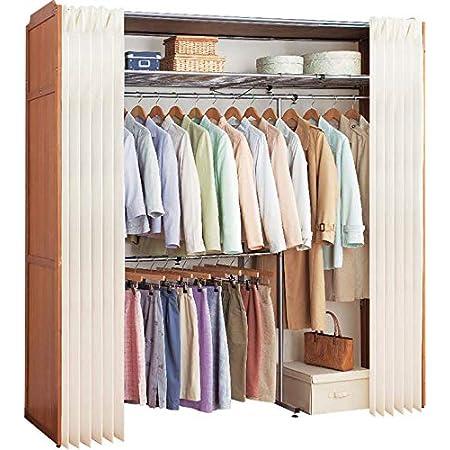 Closet Hanger Rack/クローゼットハンガーラック ブラウン 伸縮 最大幅190cm 伸縮式 2段 収納 ハンガーラック ダブル カーテン付き 木製 カバー付き ワードローブ 衣類収納 棚付 棚付き クローゼットハンガー