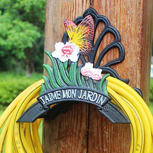 VOCD Gartenschlauch Halterung Gusseisen Schlauchhalter Wand, Dekorative Wandhalterung zur Gartenschlauch Aufhängung, Wandhalter
