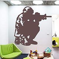 シューティングファイター兵士の男ミリタリーガンパターンリビングルームの装飾用ウォールステッカー防水ウォールステッカー寝室