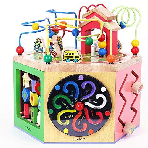 Motorikschleifen Holz Aktivität Cube - Entdecken Sie Tiere auf dem Bauernhof Activity Center for Kinder 1 Jahr Early Learning Activity-Würfel Spielzeug, Kinder-Bead Maze Toy für Kinder Jungen Mädchen
