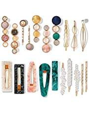Mehayi 20 PCS Macaron Pearl Acrylic Resin Metal Fashion Hair Clips Set, Handmade Cute Hair Barrettes Bobby Pins, Gold Metal Hairpin Hair Accessories Headwear Styling Tools, Gifts for Women Girls Decorative Party Wedding