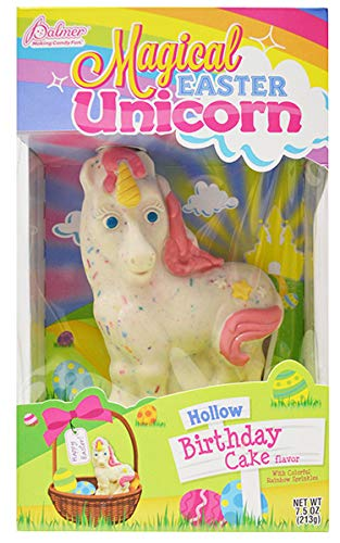 R.M. Palmer Magical Easter Unicorn, Hollow White Chocolate Birthday Cake Flavored with Sprinkles, 7.5 ounces