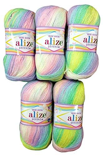 5 x 100g Babywolle Bebe Batik Flieder rosa gelb grün Weiss Nr. 2132, 500 Gramm Wolle zum Stricken und Häkeln