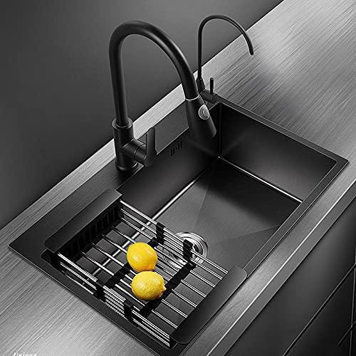 Fregadero individual nano negro, con rebosadero y accesorios de drenaje, fregadero para verduras de acero...