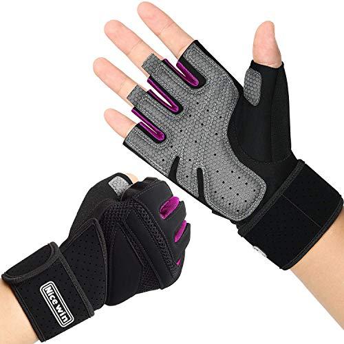 LOHOTEK Gepolsterte Fitness Handschuhe Trainingshandschuhe Unisex-Gewichtheberhandschuhe Arbeitshandschuhe mit Handgelenkstütze für das Fitness-Studio im Freien (Rosa, XL)