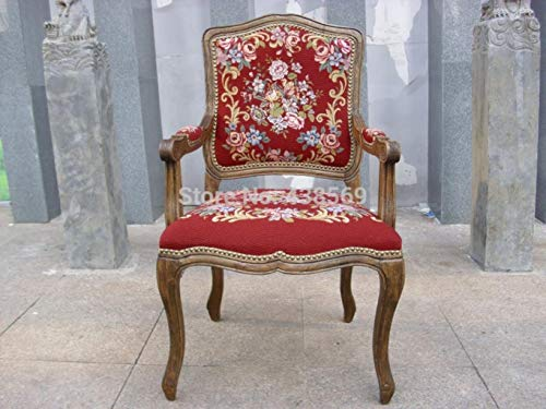 YUJINMAOYI Freies Verschiffen Antike Sessel Fauteuil Louis XV-Stil Gobelin Geschnitzte Holzschuhnägel mit nadelspitze Abdeckungen
