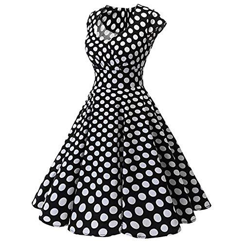 NDJqer Women's Retro Dress Summer Sleeveless Short Sleeve V Neck Evening Printing Party Prom Swing Dress,Beige,XL