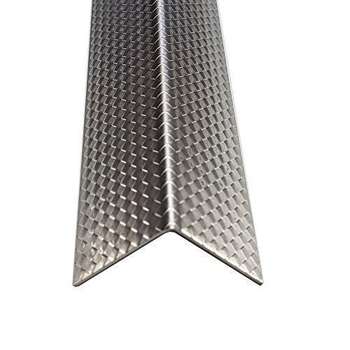 1x Winkel Edelstahl V2A Raute 1mm stark Zierleiste Dekor Eckschutz, Designwinkel, Metallprofil,Tapeteneckschutz (Länge 2000mm Schenkel 40x40mm)