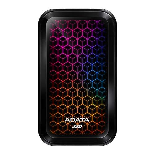 ADATA SE770G 512GB RGB SSD esterno USB 3.2 Gen2 Type-C (adattatore USB-A) R/W 1000/800 MB/s compatibile con Windows/Mac/Android