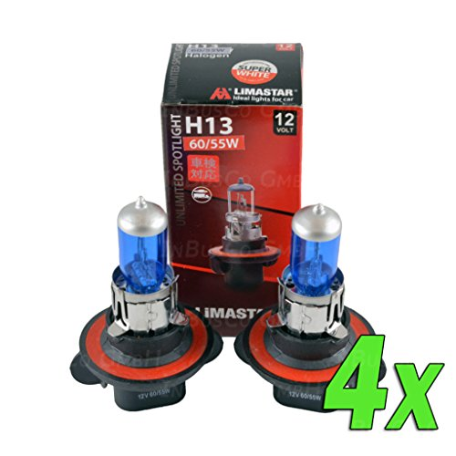 Lot de 4 ampoules halogènes H13 - 12 V - 60/55 W - 9008 - Feux de croisement et feux de route - Effet xénon 12