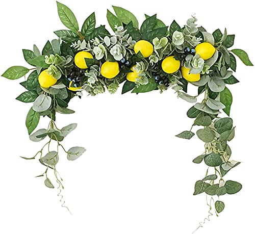 Artificial Lemon Swag, Artificial Flower Swag with Lemon Berry and Green Leaves, Hanging Faux Eucalyptus Leaves Wreath for Home Wedding Front Door Party Decoration