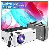 Proyector Nativo 1080P Full HD 7500 lúmenes,Soporte 4k Mini proyector de Video Compatible Ajuste Digital Proyector LED de Cine en casa y presentación PPT, Compatible con HDMI / USB / SD / AV / VGA