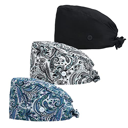 Dfit Adjustable Working Cap with Button, 3 PCS, Cotton Working Hat Sweatband, Elastic Bandage Tie Back Hats for Women & Men, One Size, 3 Pack: Black+Grey Paisley+Blue Paisley