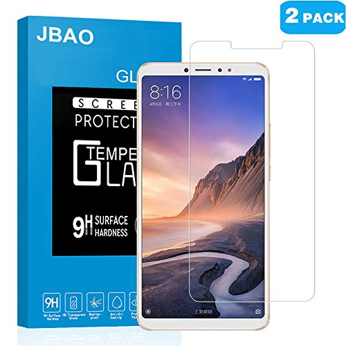 [2-Pack] Jbao Direct Xiaomi Mi Max 3 Screen Protector, 9H Hardness [Scratch Resistant][Anti-Fingerprint][Bubble Free][2.5D Arc Edge][Ultra Thin] Tempered Glass Film for Xiaomi Mi Max 3