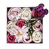 LCCL Künstliche Blumen Seife Rosen Geschenk-Box mit Schmetterling und Kristall für Valentinstag,...