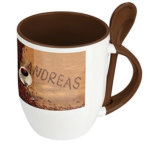 Namenstasse Andreas - Löffel-Tasse mit Namens-Motiv Kaffeebohnen - Becher, Kaffeetasse, Kaffeebecher, Mug - Braun