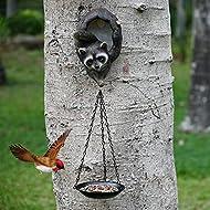 Hand-Mart Raccoon Bird House with Hanging Bird Feeder Tree Decor Outdoor, Garden Statues, Wild Seed Birdfeeder Tree Hugger Sculpture, Whimsical Garden Decorations