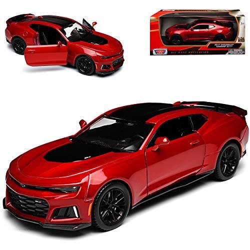 Motormax Chevrolet Camaro Coupe ZL1 Rot mit Schwarz 6. Generation Ab 2015 Version Ab 2017 1/24 Modell Auto mit individiuellem Wunschkennzeichen