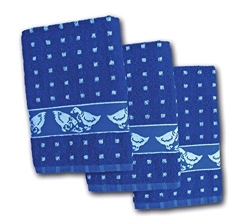 Ross Küchenfrottiertuch Gänse Quadrat Blau 3er - 50x50cm